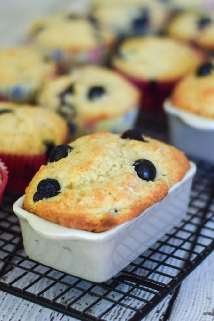 Buttermilk Blueberry Muffins in mini ceramic loaf pans with standard muffins in the background
