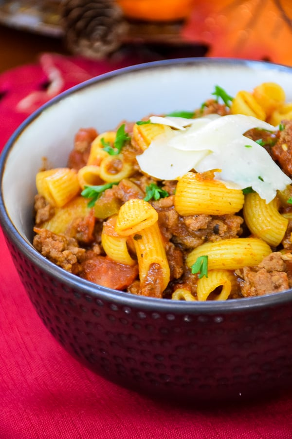 A bowl of comfort food in this Classic Beef Goulash in a serving bowl