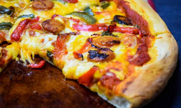 Chicken Sausage Pizza with Onions and Peppers