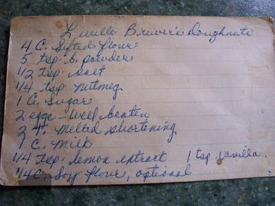 Mom's tattered deep fried doughnut recipe card