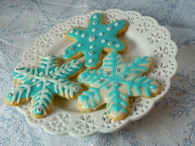 Sugar Cookie Cutouts decorated with blue and white glace