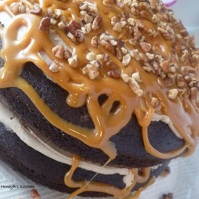 Double Caramel Turtle Cake