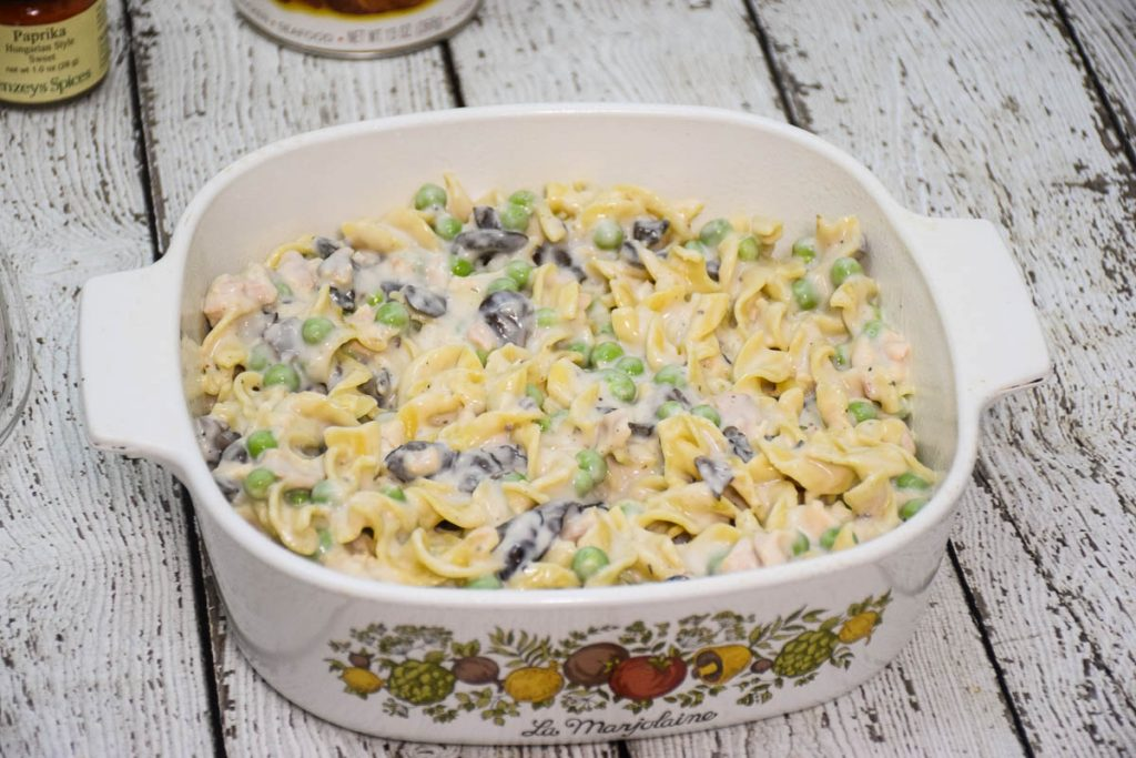 Unbaked casserole without the cracker topping