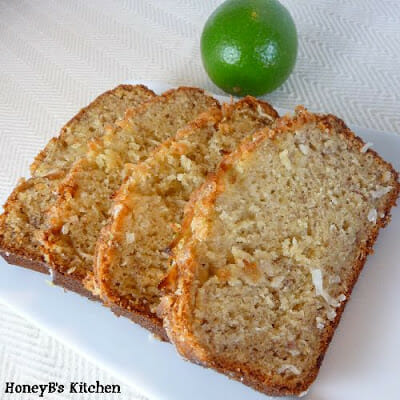 Coconut Banana Bread with Lime Glaze