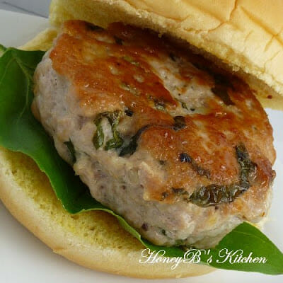 Basil and Garlic Pork Burgers
