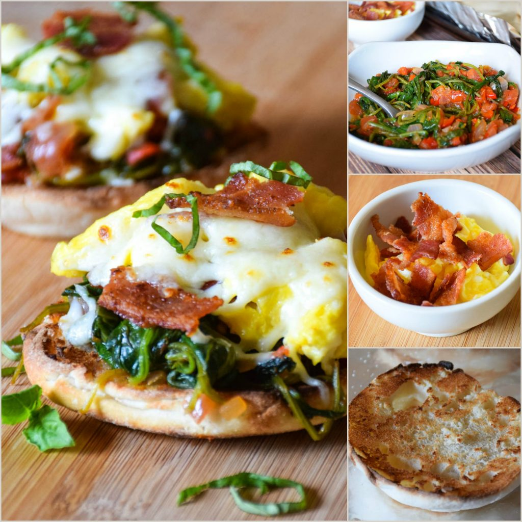 A collage of the assembly steps. Finished product on the left, tomato spinach saute, bacon and eggs, and toasted muffin