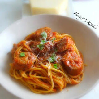 Spaghetti with Sausage & Simple Tomato Sauce