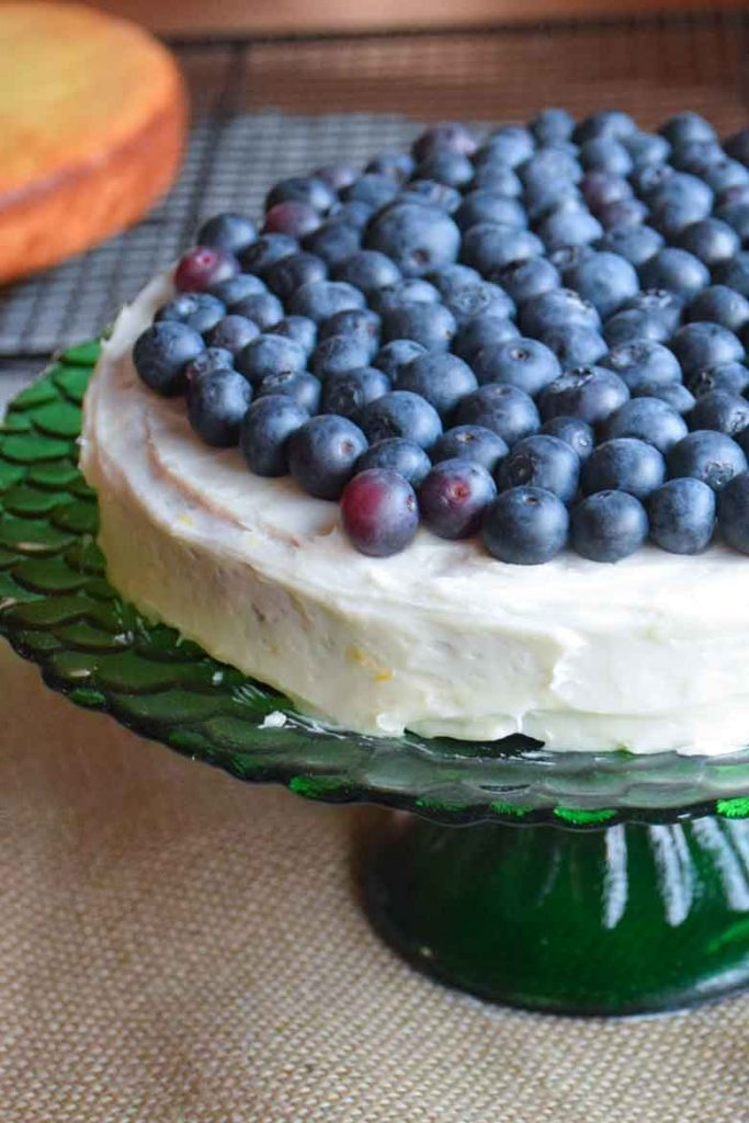 first layer frosted with a layer of fresh blueberries on top