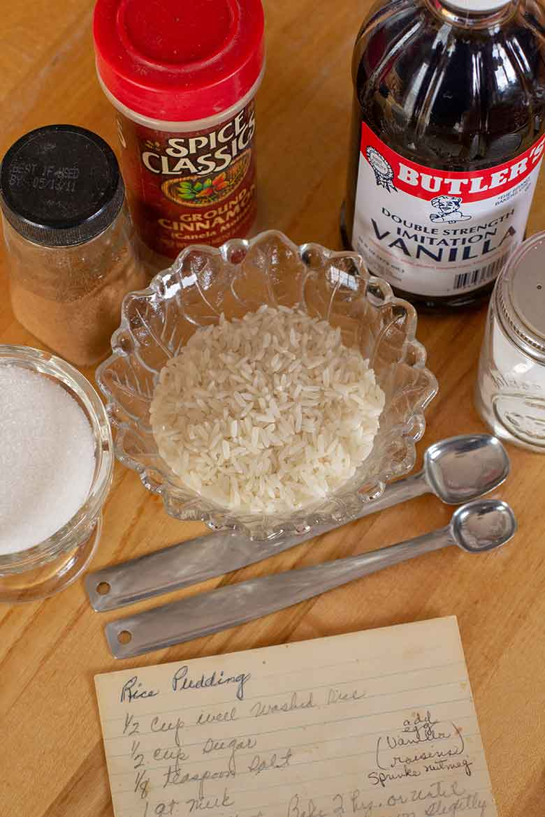 Ingredients for rice pudding
