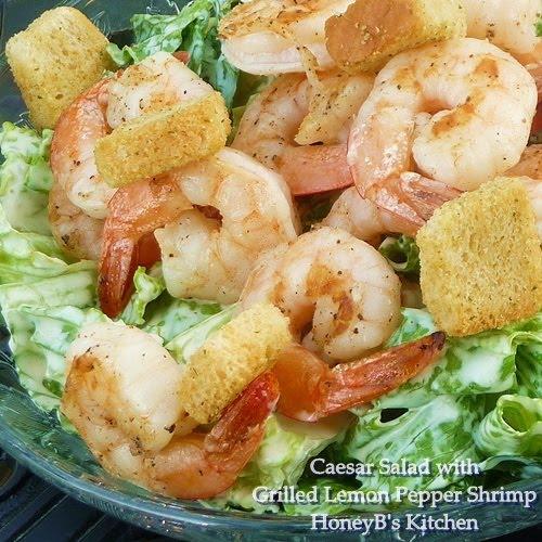 Caesar Salad with Grilled Lemon Pepper Shrimp