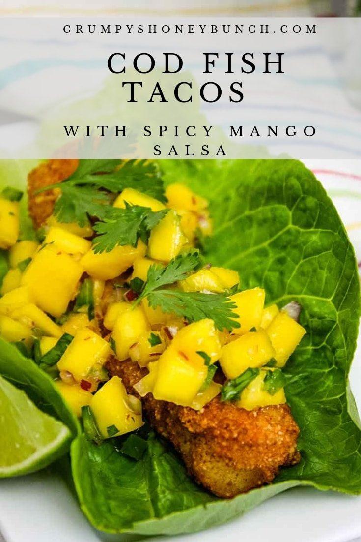Cod Fish Tacos with Spicy Mango Salsa #lowcarb #cod #fish #taco