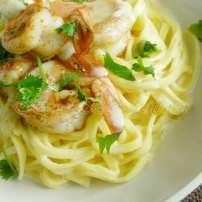 Cajun Shrimp with Linguine and Creamy Parmesan Sauce