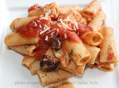 Puttanesca Sauce with Rigatoni Pasta
