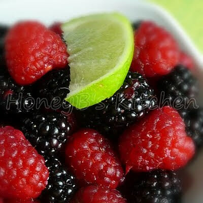 Fresh Raspberries and Blackberries in Lime Ginger Dressing