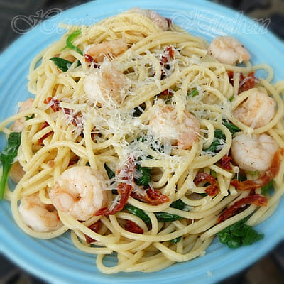 Garlic Shrimp with Spinach and Vermicelli