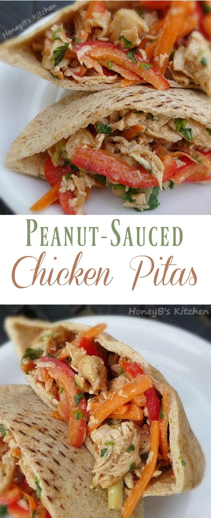 Peanut-Sauced Chicken Pitas #sandwiches #peanut #chicken