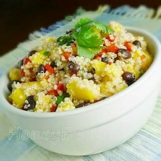 Quinoa Salad with Mango, Black Beans, and Cilantro Lime Dressing