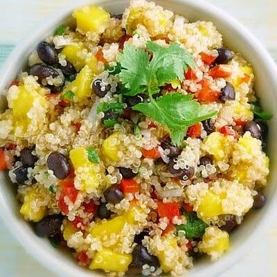 Quinoa Salad with Mango, Black Beans, and Cilantro Lime Dressing