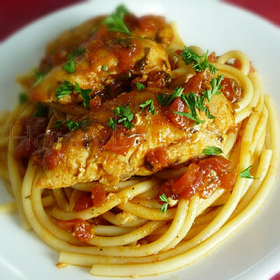 Chicken Tenders in Garlic Tomato Sauce with Bucatini