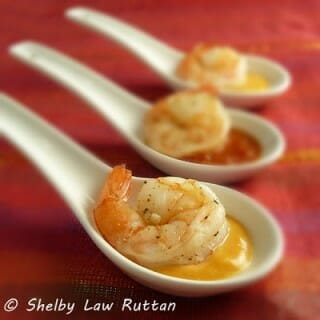 Roasted Shrimp Tasting Spoons with Two Sauces