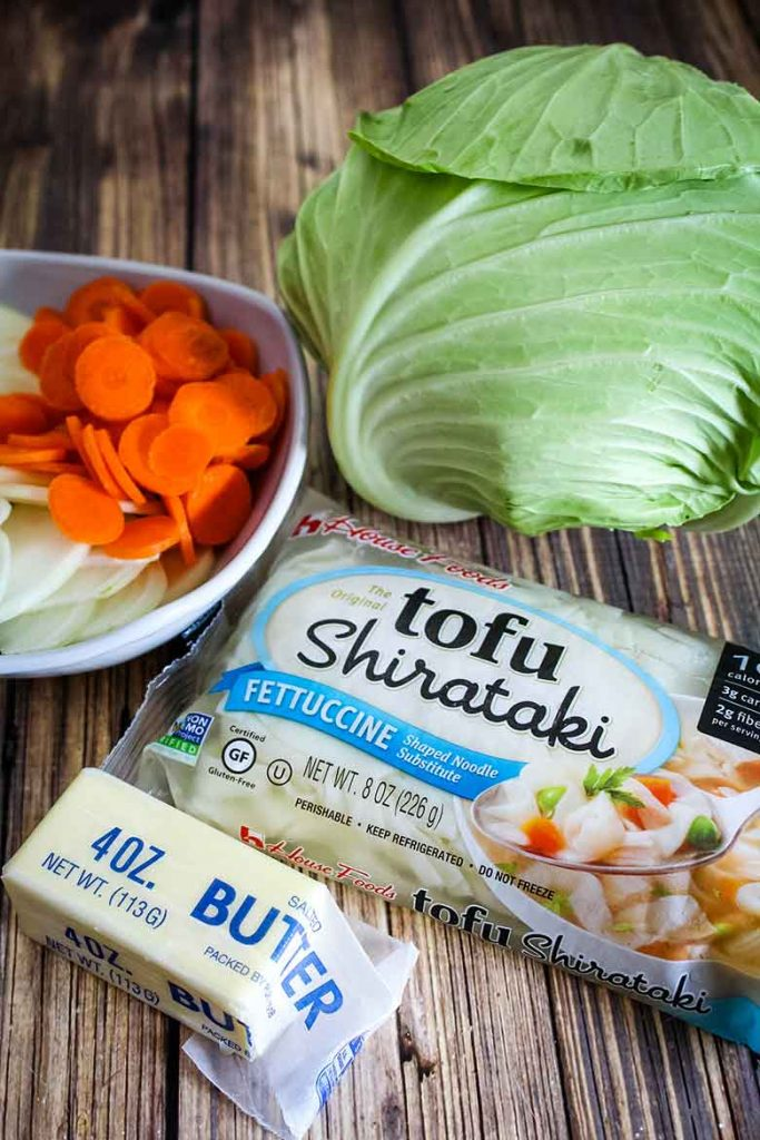 Cabbage, carrots, onions, butter, and shirtake ingredients