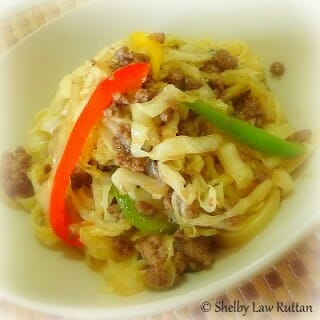 Peppery Beef with Cabbage over Noodles