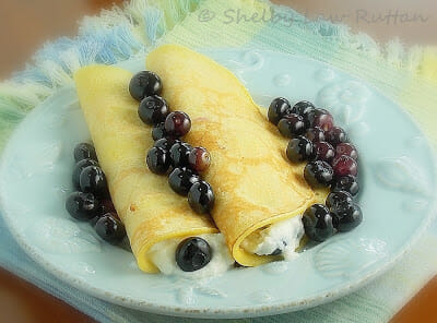Cornmeal Crepes with Ricotta Blueberry Filling