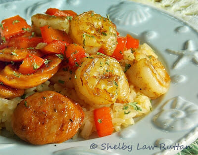 Shrimp and Andouille Chicken Sausage Stir-Fry