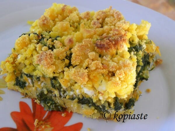 Savory Corn Crumble with Butternut Squash, Spinach and Feta