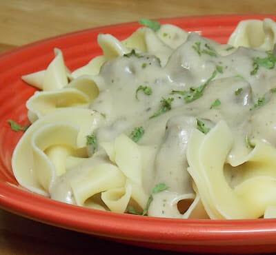 Venison in Mushroom Gravy over Egg Noodles
