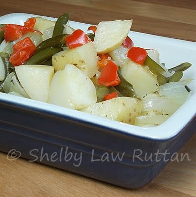Grilled Potatoes with Garlic Scapes and Red Pepper