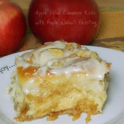 Apple Filled Cinnamon Rolls with Maple Walnut Frosting