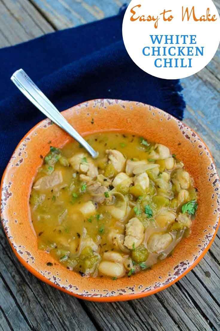 Easy White Chicken Chili #mexican #chili #whitechili #soup #recipeoftheday