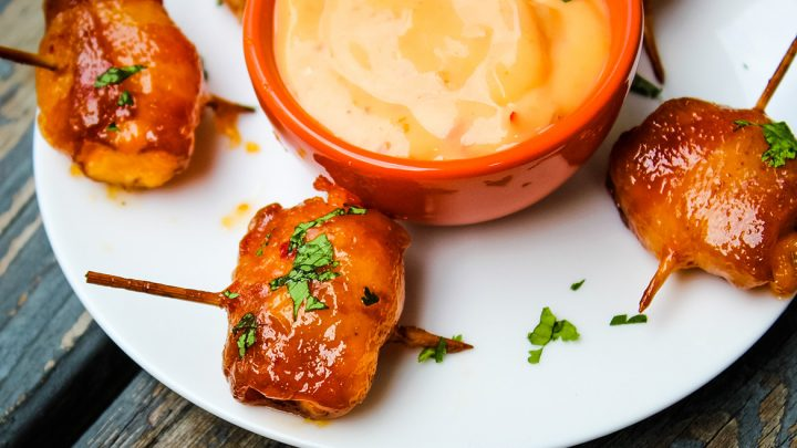 Bacon Wrapped Water Chestnuts with Sweet Chili Sauce