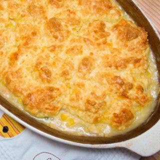 Turkey Pot Pie with Cheddar Garlic Biscuits