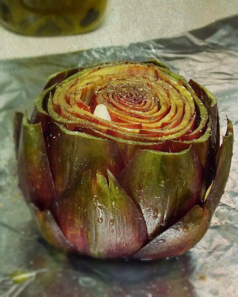 Garlic Roasted Artichokes with Garlic Saffron Aioli