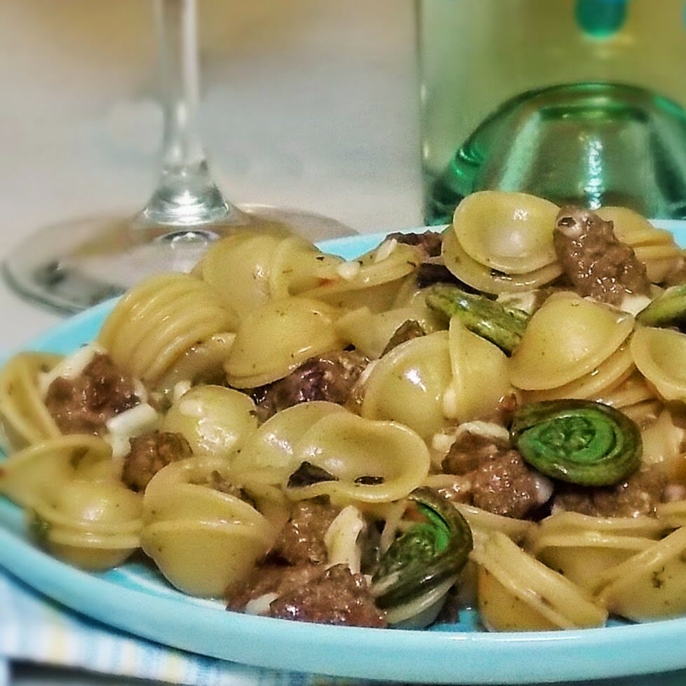Sausage Orecchiette with Fiddleheads, & Ramps