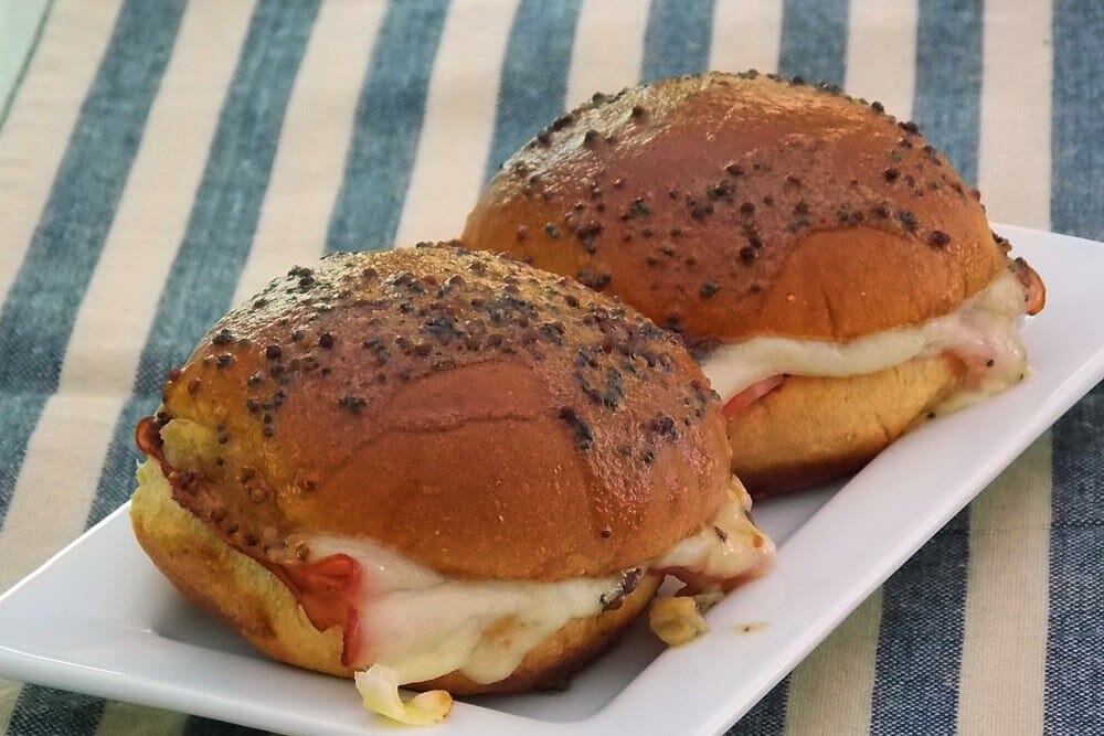 Ham and Swiss Sliders #cookingforone #ham #swiss #appetizer
