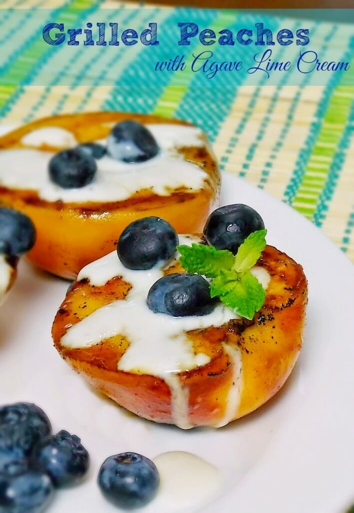 Grilled Peaches with Agave Lime Cream #grilling #peach #sugarfree