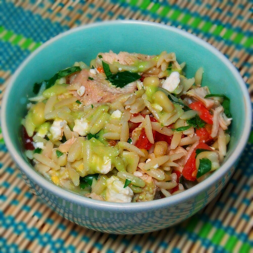 Orzo Chicken Salad with Avocado Lime Dressing #avocado #chicken #portablelunches