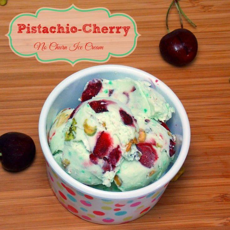 Pistachio Cherry No-Churn Ice Cream #pistachio #cherry #nochurn #icecream