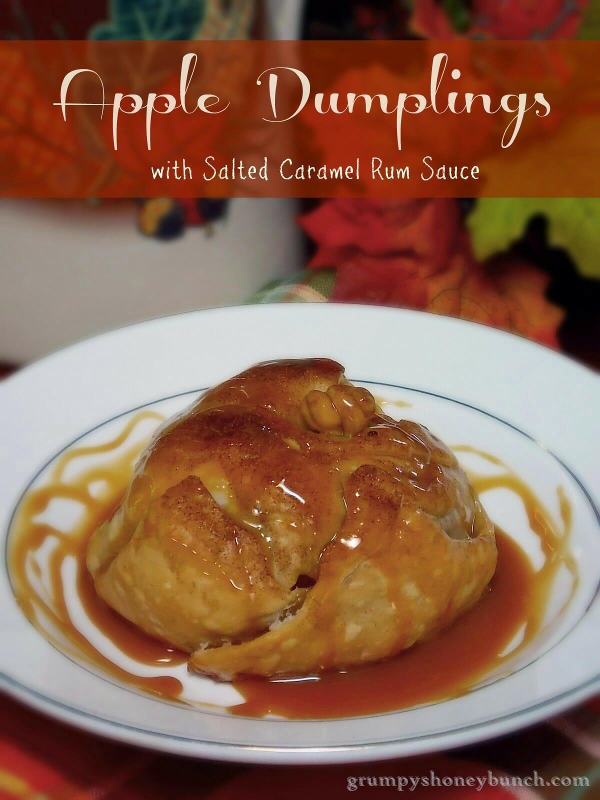 Apple Dumplings with Salted Caramel Rum Sauce