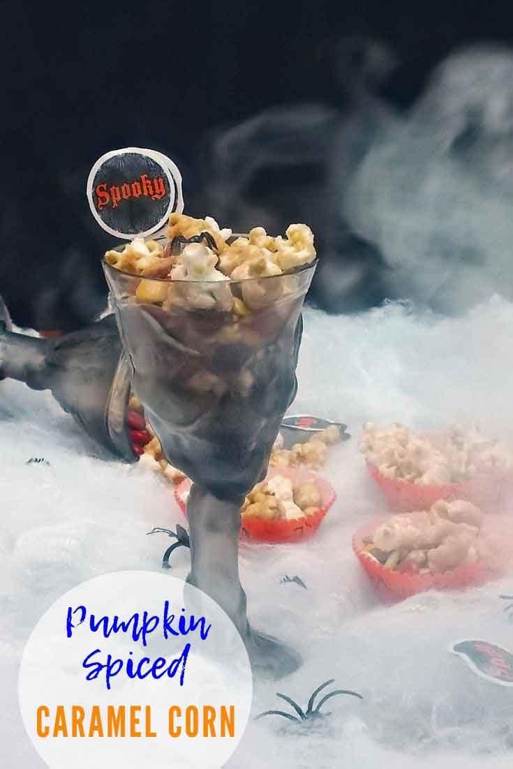 Pumpkin Spice Caramel Corn Snack Mix #halloween #treats #popcorn #pumpkin #pumpkinspice