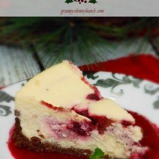 Amaretto Cranberry Swirled Cheesecake #SundaySupper