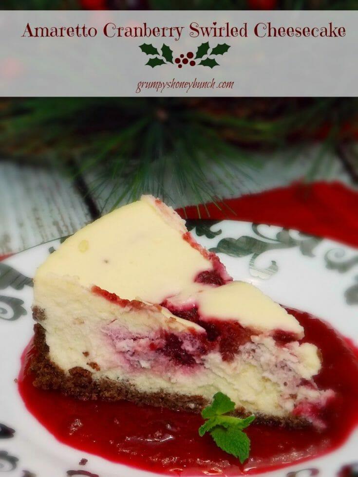 Amaretto Cranberry Swirled Cheesecake #cheesecakerecipe #baking #cheesecake #cranberry #cranberryswirl