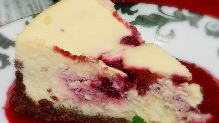 Amaretto Cranberry Swirled Cheesecake
