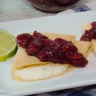 Coconut Lime Cheese Crepes with Brandied Cherry Topping