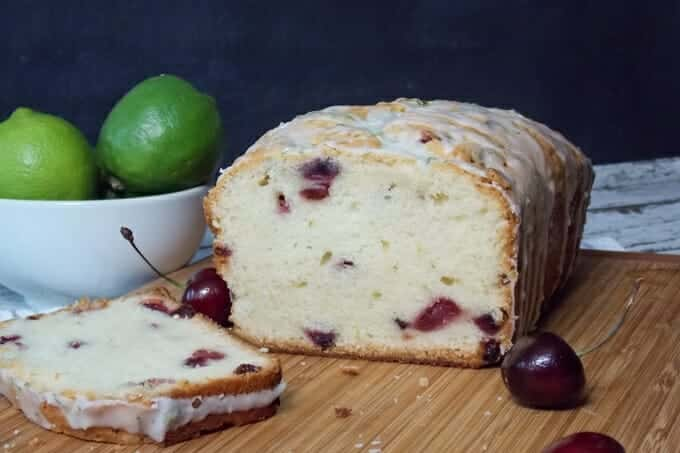 Cherry Poundcake with Lime Glaze