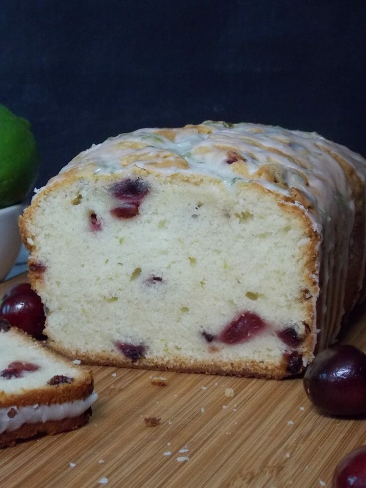 Cherry Pound Cake with Lime Glaze #poundcake #cherries #lime #baking