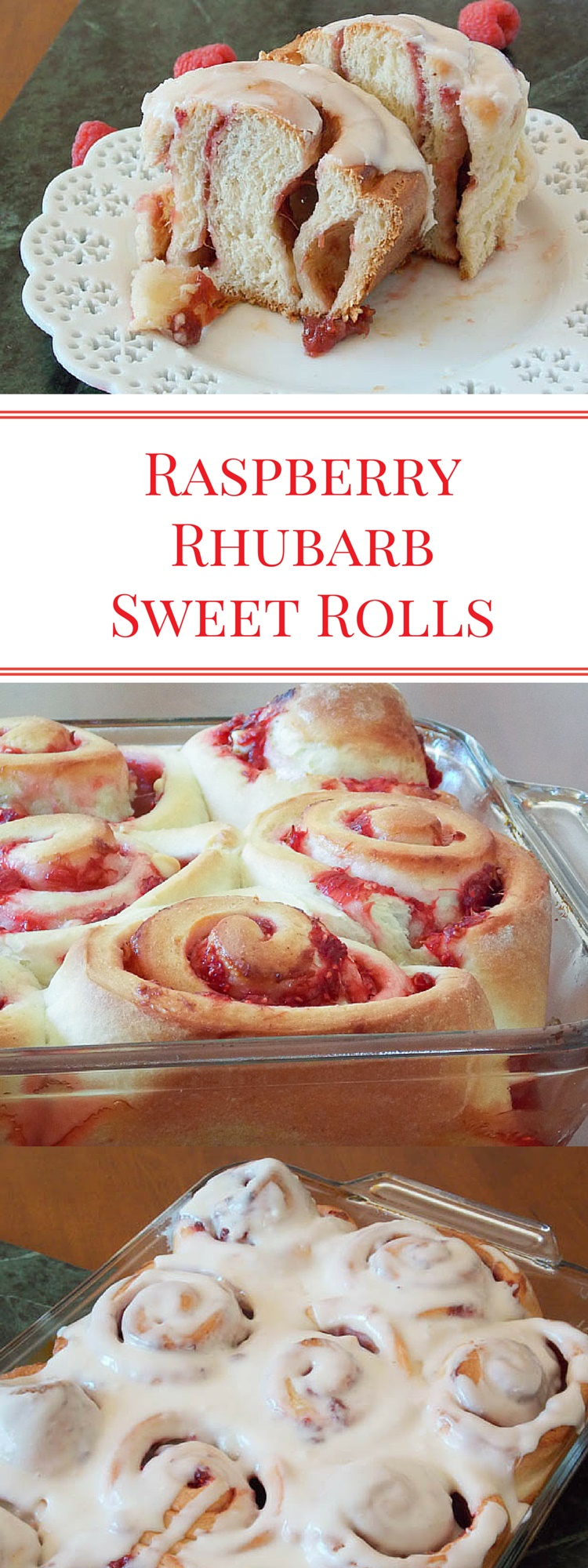 Raspberries and Rhubarb, cooked down with a little sugar and thickened into a sauce made a very delicious filling for this sweet roll dough! This could be a great brunch item or even dessert for your family table!